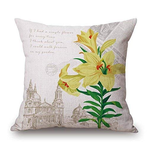 N/C 18 x 18 Inch Flower Vintage Style Cotton Linen Square Throw Pillow Case Decorative Cushion Cover Pillowcase Cushion Case for Sofa,Bed,Chair,Auto Seat