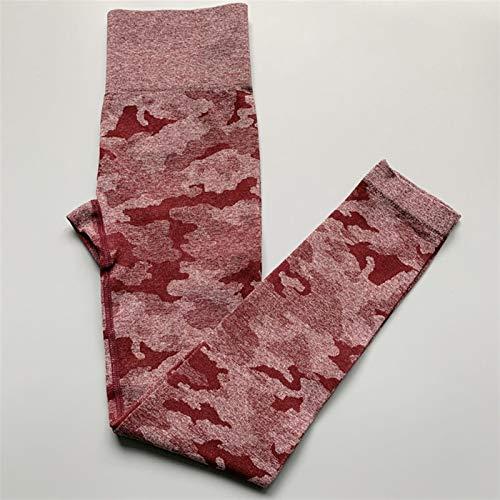 DFSMG Mujeres Camo Leggings Sin Fisuras Leggings Alto Leggings Scrunch Leggings Yoga Pantalones Mujeres (Color : Berry Red, Size : XS)