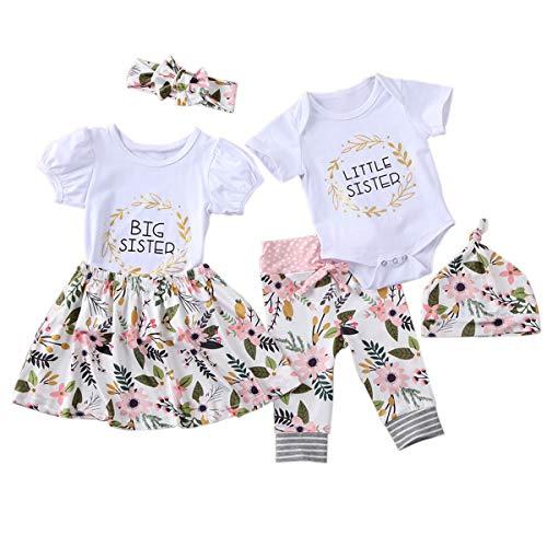 Haokaini Conjunto de Trajes a Juego de Hermanas de Niñas Bebés Conjunto de Ropa de Mameluco de Vestido Floral Casual para Niñas