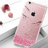 Ukayfe Coque en Silicone Fleurs de Cerisier Roses Etui de Protection Paillette Bling Diamant Strass Brillante Housse Souple...