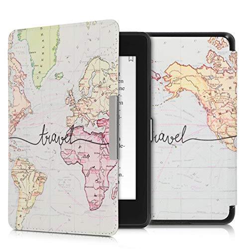 kwmobile Carcasa Compatible con Amazon Kindle Paperwhite (10. Gen - 2018) - Funda para Libro electrónico con Solapa - Mapa Mundial