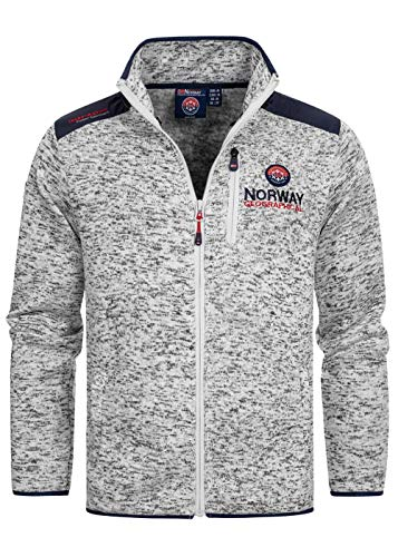 Geographical Norway Herren Fleece Jacke Contrast Shoulder Sweater Ches Logo Embro 2 Zipped Pockets, White, Gr:L