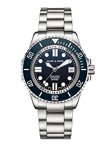 Marc & Sons 500m da immersione blu ETA 2824–2automatico, Vetro...