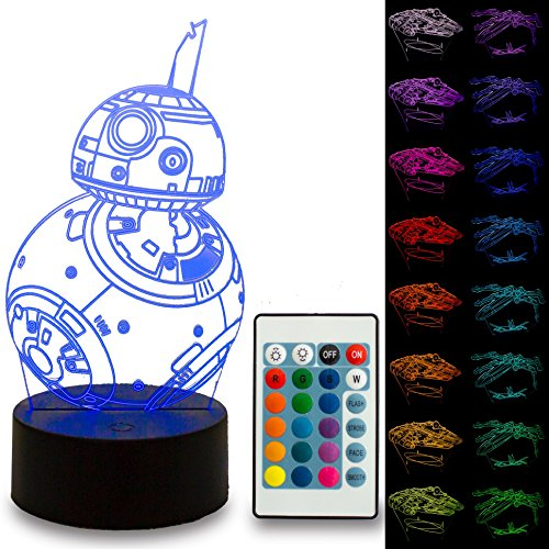 NINE Lighting Star Wars 3D Illusion Night Light Lamp 3 Pack with Free Remote Control and 16 Colors for Kids or Adult