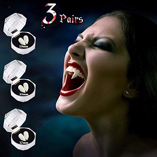 Onlyso Halloween Party Cosplay Prop Decoration Vampire Denture Teeth Horror False Teeth 3 Pairs