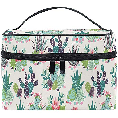 Tropical Cactus Plants Cosmetic Bag Makeup Bag Toiletry Brush Train Zip Carrying Portable Storage Pouch Bags Box Box