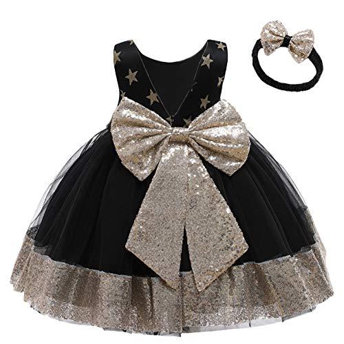 FYMNSI Vestido de niña para fiesta de cumpleaños o bautizo, con lazo y flores, con cinta para la frente, para princesa, boda, dama de honor, vestido de fiesta 2# negro. 18-24 Meses