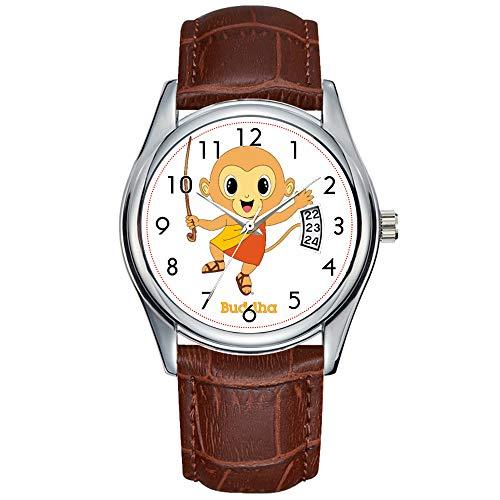 Fashion Simple Men Watch Casual Waterproof Quartz Watches Clock Date Classic Business Leather Christmas Wristwatch Buddha Monkey? Watch