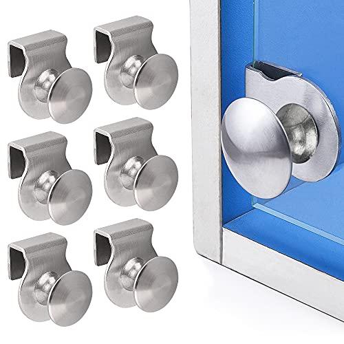 GOLRISEN Tiradores para Puertas de Cristal Ajustable 6 Pomos Puertas de Cristal o Madera de 5-6 mm de Grosor Manillas Puertas de Acero Inoxidable para Puertas de Ducha/Oficina/Amario/Vitrina