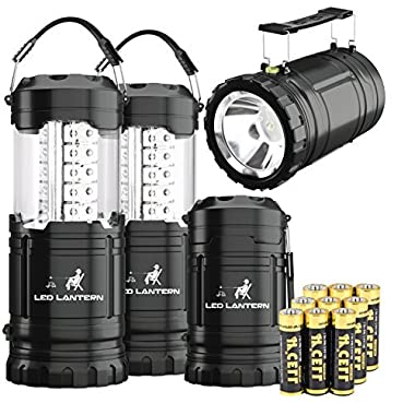 MalloMe 2-IN-1 LED Camping Lantern & Flashlight with 12 AA Batteries - Survival Kit Gear for Emergency, Hurricane, Storm, Outage (Black, Collapsible), 4 Pack