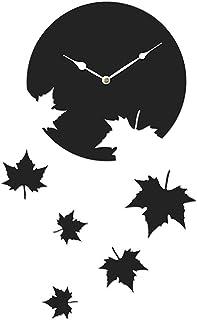 Sehaz Artworks 'Canadian Leaf' Asymmetric Wood Wall Clock (27 cm x 27 cm x 4 cm, Black)
