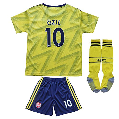 GamesDur 2019/2020 Arsenal M. Ozil 10 Away Yellow Kids Soccer Jersey Set Shirt Short Socks Youth Sizes (Away (Yellow), 12-13 Years)