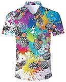 ALISISTER Camisa Hawaiana Hombre Camisetas de Manga Corta 3D Pintar Piña Impresión Aloha Botón Blusa Fiesta de Vacaciones de Verano Ropa M