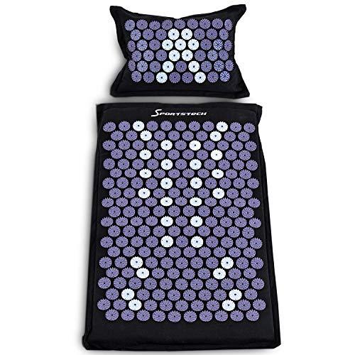 Sportstech Akupressurmatte AXM400 mit Kissen |ideal im Set Massage Matte + Akupressur | für wohltuende Entspannung bzw. Durchblutung |Magnete (Axm400 - Natur)