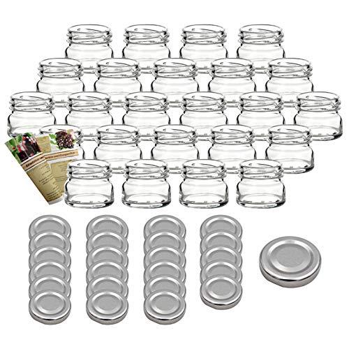 gouveo Set di 24 vasetti 'Mini' 30 ml con chiusura girevole TO 43 argentato, vasetti di stoccaggio, vassoi di marmellata, conservazione vasetti, vasi di spezia, vasi invertenti