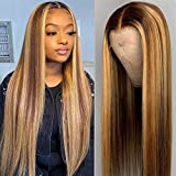 Highlight Straight Human Hair T Part Wigs MSGEM Ombre Human Hair Lace Front Wigs for Black Women Remy Hair Glueless Wigs Pre plucked 12 inch 4/27 Color 150% Density