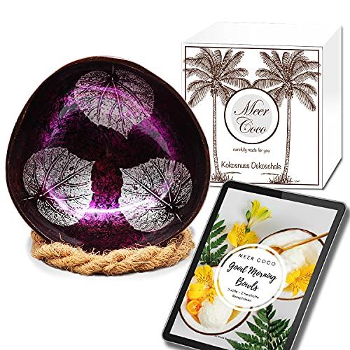 Meer Coco Incluye libro electrónico de recetas y soporte para cuencos, ideal como aperitivos, decoración y aperitivos, 1 cuenco de coco y 1 posavasos de fibra de coco.