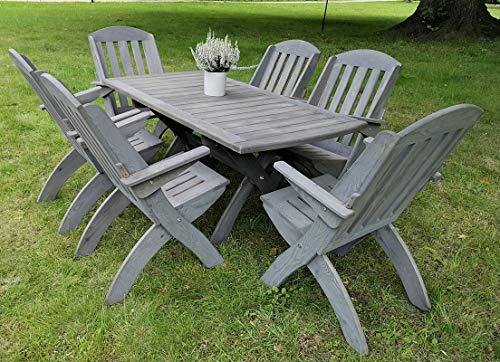 STOLLDREW Gartenset (Lamel X 2) Hochwertige Tischgruppe und Sitzgruppe, Kiefer Massivholz Gartenset, Klappbare Gartenmoebel aus Holz, Gartentisch mit 6 Klappzstuhl (Grau)