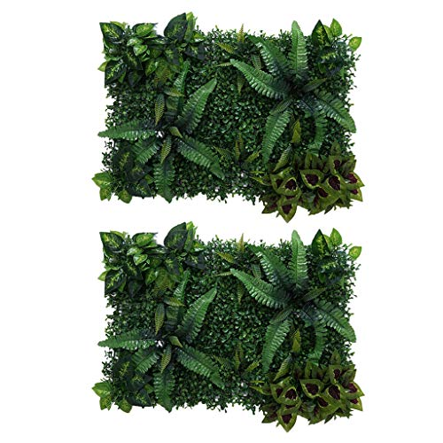 SDENSHI 2x Artificial Plastic Plant Flower Grass Wall Panel Lawn Wedding Venue Decor - Green A, as described