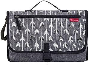 Lekebaby Portable Diaper Changing Pad Built-in Head Cushion Waterproof Baby Travel Changing Station, Arrow Grey Print