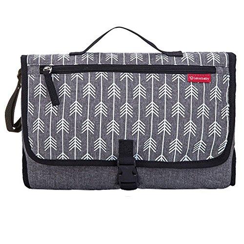 Lekebebay Portable Diaper Changing Pad Built-in Head Cushion Waterproof Baby Travel Changing Station, Arrow Grey Print