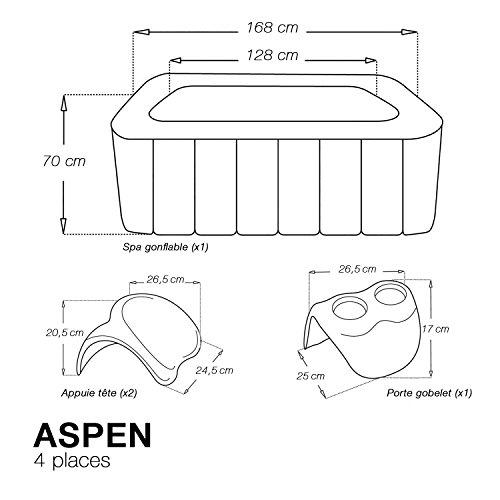 Spa carré gonflable Aspen - 4 places - noir + 2 appuie-tête + 1 porte gobelet