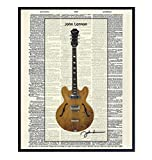 John Lennon's Guitar Upcycled Dictionary Wall Art Print - Vintage 8x10 Unframed Photo - Great Gift for Musicians and Beatles Music Fans - Cool Home Decor