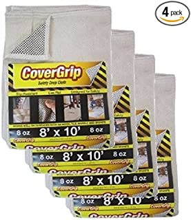 CoverGrip 8 oz Canvas Safety Drop Cloth, 8' x 10', (Pack of 4)