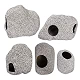 5 Pack Stackable Aquarium Decoration Rock Caves- Ceramic Fish Tank Hideout Cave Stone Ornaments in 5 Styles Professional Betta Cave Hideaway Tunnel for Territorial Fish Shrimp Cichlid Hiding Breeding
