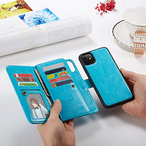 Urvoix for iPhone 11 Case, 11 Leather Wallet Case, Flip Card Holder Cover with Detachable Magnetic Case Wrist Strap for iPhone 11 Phone Case(6.1-inches Display), Blue