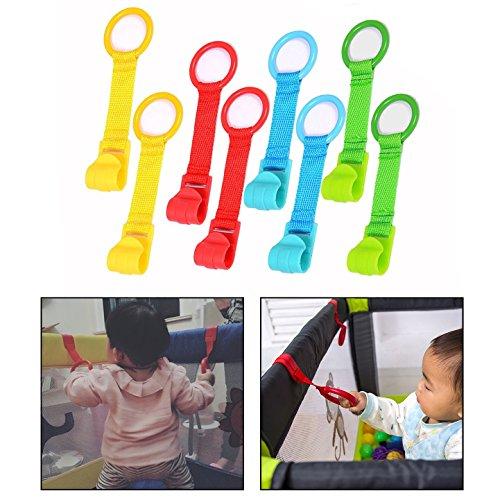 OFKPO 8 Piezas Anillas para Cunas y Parques, Multicolor,con Tira de Textile, Parquecitos De Los Niños para Ayudar Los Bebes Levantarse