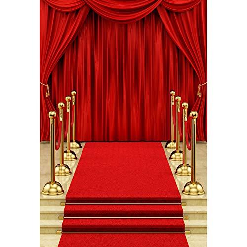 CSFOTO 3x5ft Red Carpet Photogarphy Backdrop for Movie Premiere Decor Filmfest Background Night Award Ceremony Decor Red Curtain Decor Adults Portrait Photo Studio Props