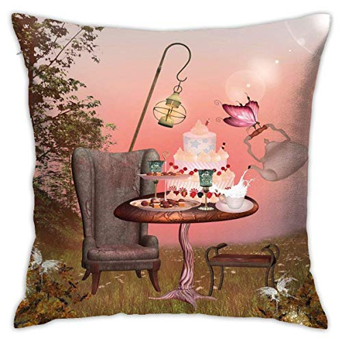 N/Q Polyester Throw Pillow Case Cushion Cover Birthday in Wonderland with Cake Butterfly in Forest Cartoon Art Sofa Home Decorative (18x18 inch)