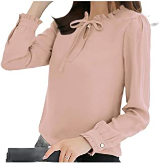 HEFASDM Womens Chiffon Cozy Fashional Tops Long-Sleeve Blouse Tees Top