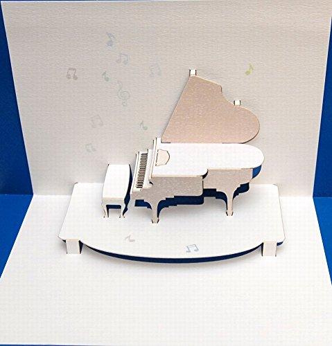 FOREVER Pop Up 3D Karte Klavier Grusskarte Geburtstag Gutschein Musik Konzert 16x11cm