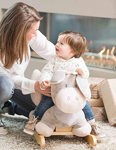 Nattou Schaukeltier ab 1 Jahr mit Gurt, Mädchen und Jungen – Cappuccino Esel beige - 3