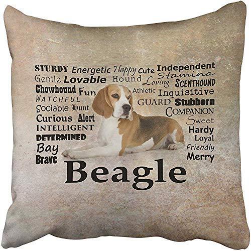 No Brand Beagle Traits - Funda de cojín decorativa para sofá o hogar, diseño cuadrado, 45 x 45 cm