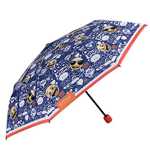 Paraguas Plegable Niño Emoji - Paraguas Infantil Emoticonos Smile - Mini Azul con Ribete Naranja - Ligero Antiviento Fibra de Vidrio - PFC Free - Manual - Diametro 91 cm - 7+ Años - Perletti Kids