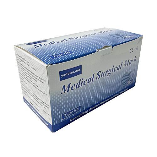 DBDDZD (50 unidades / caja) Mascarillas quirúrgicas, mascarillas quirúrgicas conforme a EN 14683 Tipo IIR