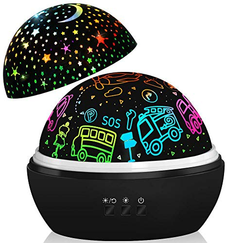 Night Light Projector,Kids Lamp Cars Toys,Boys Car Gifts,1-8 Years Old Boys Gifts,Project Car/Plane/Truck/Bus/Fire Truck Night Light,Star Moon Light for Children Nursery Room (Black)
