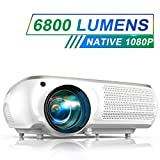 TOPTRO Projector Upgraded 6800 Lumens Native 1920x1080P Full HD Video Projector, Portable Projector