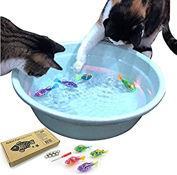 Indoor Cat Interactive Swimming Fish Toy- Best Water Cat Toy for Indoor Cats Play Fishing Good Exercise Drink More Water led Light Battery Included  Swimming Bowl is not Included   4 Pcs