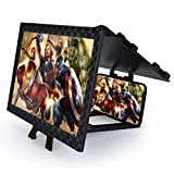 12'' Screen Magnifier – Mobile Phone 3D Magnifier Projector Screen for Movies, Videos, and Gaming – Full Coverage Foldable Phone Stand with Screen Amplifier – Supports All Smartphones (Black)