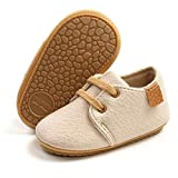 ENERCAKE Baby Boys Girls Oxford Shoes Soft Sole PU Leather Moccasins Infant Sneaker Toddler First Walkers Crib Shoes(0-6 Months Infant, E-Beige)