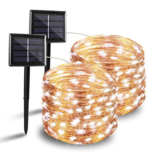 BHCLIGHT Solar String Lights, 2-Pack 200 LED Solar Lights Outdoor, Waterproof Copper Wire 8 Modes Fairy Lights Solar Light for Wedding Patio Garden Party Decorations (Cool White)
