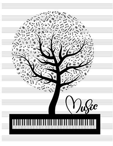 Notenlinien Notizbuch: Notenpapier Notenbuch Notenblätter Blanko Notenlineatur Baum mit Musiknoten Keyboard