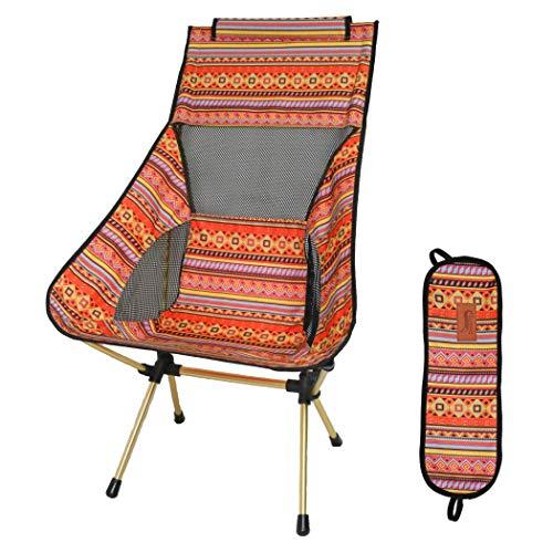 DesertFox アウトドアチェア 折りたたみ 超軽量【ハイバック】【耐荷重150kg】コンパクト イス 椅子 収納袋付属 お釣り 登山 携帯便利 キャンプ椅子 0018 (オレンジ/ハイバック)