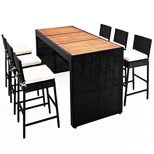 Deuba Casaria Poly Rattan Garten Bar Set 6 Barhocker mit Auflagen XL Bartisch Akazie Holz Sitzgruppe Gartenmöbel Outdoor Set