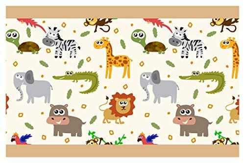 dekodino Kinderzimmer Bordüre Borte Bunte Safari Tiere Junge Mädchen Wanddeko
