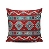 XIUBA Throw Pillow Covers Case Aqua Mint and Red Southwest Mesas Turquoise Decorative Pillowcase Cushion Cover 18 x 18 inch Square Size Double-Sided Design Printed
